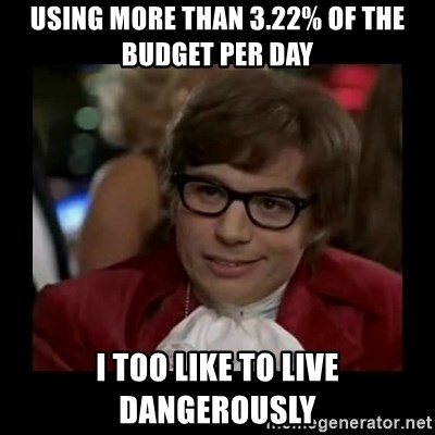 Dangerously Austin Powers - Using more than 3.22% of the budget per day I too like to live dangerously