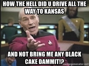 Picard Wtf - HOW THE HELL DID U DRIVE ALL THE WAY TO KANSAS  AND NOT BRING ME ANY BLACK CAKE DAMMIT!?