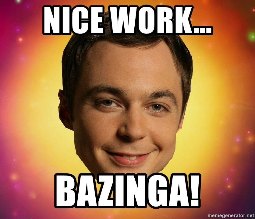 Sheldon Big Bang Theory - Nice Work... Bazinga!