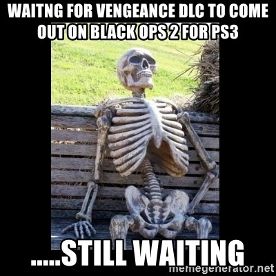 Still Waiting - waitng for vengeance dlc to come out on black ops 2 for ps3  .....still waiting