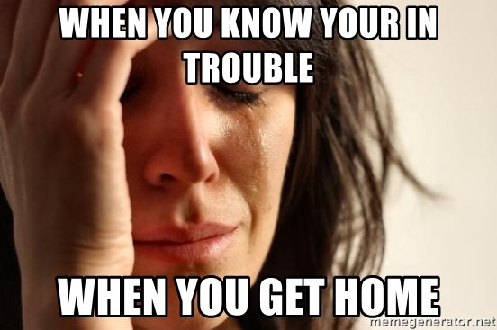 First World Problems - WHEN YOU KNOW YOUR IN TROUBLE WHEN YOU GET HOME