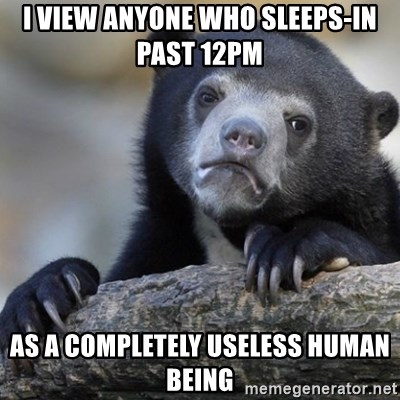 Confession Bear - I view anyone who sleeps-in past 12PM  As a completely useless human being