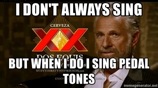 Dos Equis Man - I don't always sing But when I do I sing pedal tones