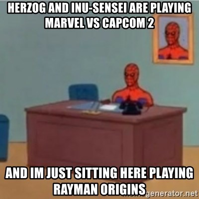 60s spiderman behind desk - Herzog and inu-sensei are playing marvel vs capcom 2 And im just sitting here playing rayman origins