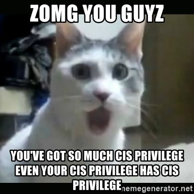 Surprised Cat - zomg you guyz You've got so much cis privilege even your cis privilege has cis privilege