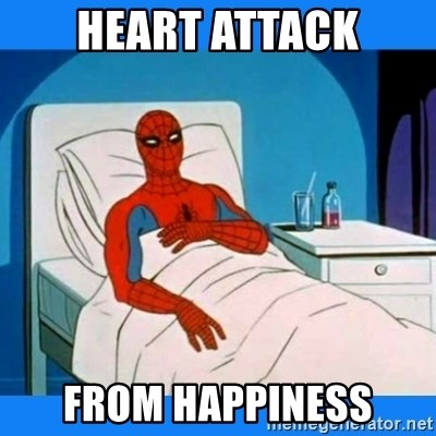 spiderman sick - heart attack from happiness