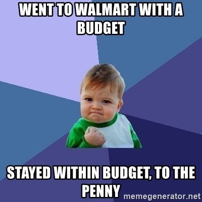 Success Kid - Went to Walmart with a budget  Stayed within budget, to the penny