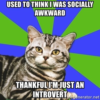 Introvert Cat - Used to think I was socially awkward Thankful I'm just an introvert