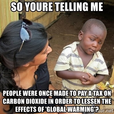 skeptical black kid - so youre telling me people were once made to pay a tax on carbon dioxide in order to lessen the effects of 'global warming'?