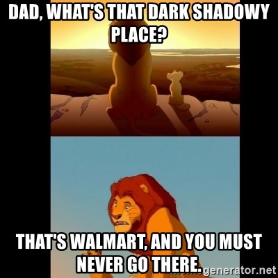 Lion King Shadowy Place - Dad, what's that dark shadowy place? that's walmart, and you must never go there.