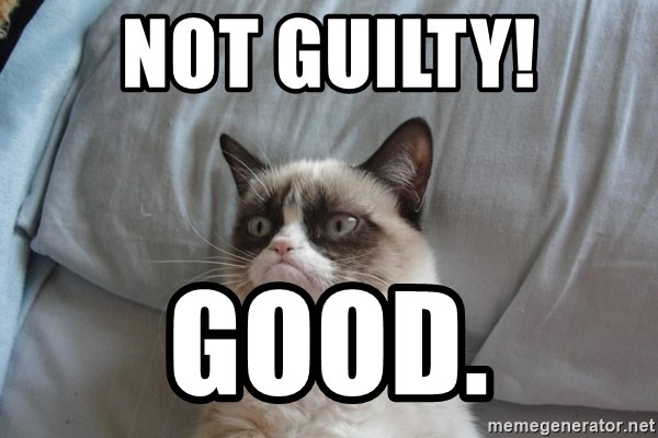 Grumpy cat good - NOT GUILTY! Good.