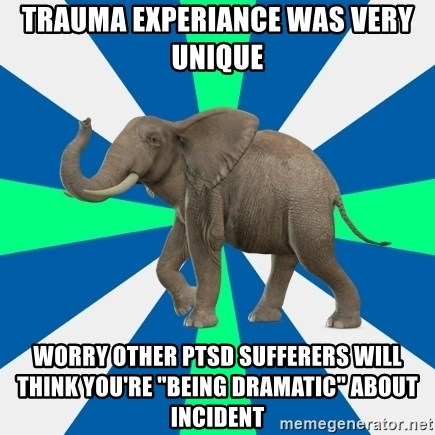 """PTSD Elephant - Trauma experiance was very unique worry other PTSD sufferers will think you're """"Being Dramatic"""" about Incident"""