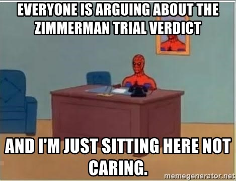 Spiderman Desk - everyone is arguing about the Zimmerman trial verdict  and i'm just sitting here not caring.