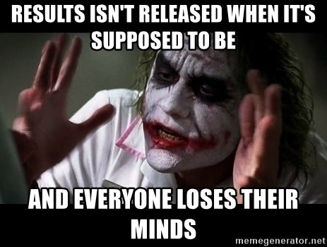 joker mind loss - results isn't released when it's supposed to be and everyone loses their minds
