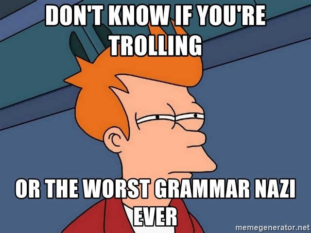 Futurama Fry - Don't know if you're Trolling or the worst Grammar Nazi ever