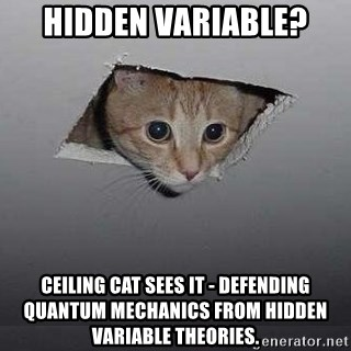 Ceiling cat - Hidden variable? Ceiling cat sees it - defending Quantum Mechanics from hidden variable theories.