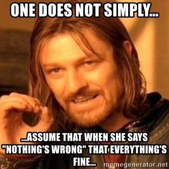 """One Does Not Simply - One does not simply... ...assume that when she says """"nothing's wrong"""" that everything's fine..."""