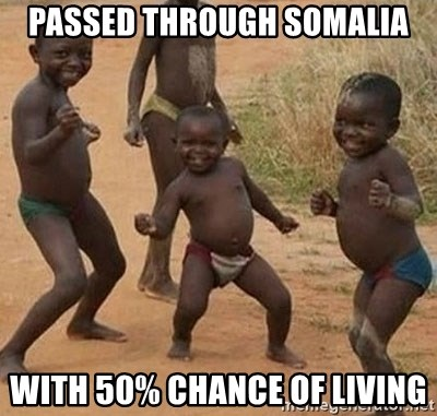 Happy african kids - Passed through somalia With 50% chance of Living