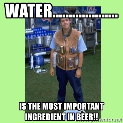 The Waterboy - WATER.................... is the most important ingredient in beer!!