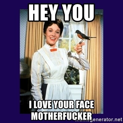 Hey You I Love Your Face Motherfucker Mary Poppins Meme Generator