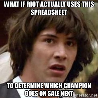 Conspiracy Guy - WHAT IF RIOT ACTUALLY USES THIS SPREADSHEET TO DETERMINE WHICH CHAMPION GOES ON SALE NEXT