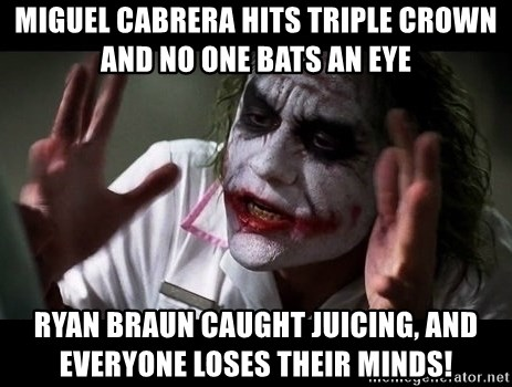 joker mind loss - Miguel Cabrera hits triple crown and no one bats an eye Ryan Braun caught juicing, and everyone loses their minds!
