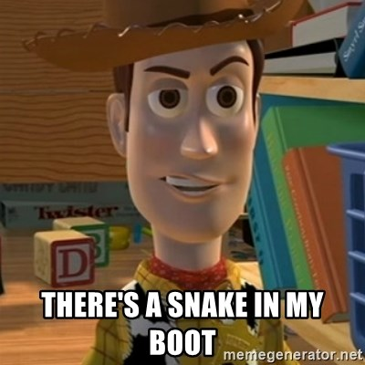 There's a snake in my boot - Toy Story Woody | Meme Generator