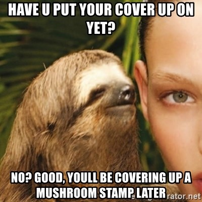 Have U Put Your Cover Up On Yet No Good Youll Be Covering A Mushroom Stamp Later