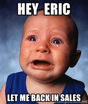 Hey Eric Let Me Back In Sales Crying Baby Meme Generator