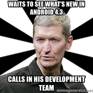 Tim Cook Time - Waits to see what's new in Android 4.3 Calls in his development team