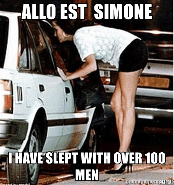 Karma prostitute  - Allo est  Simone i have slept with over 100 men