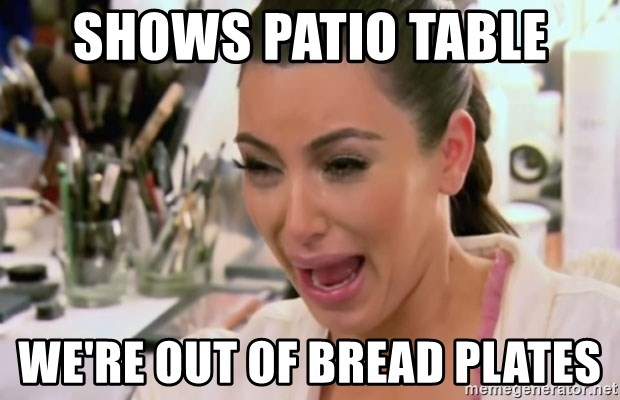 Kim Kardashian Crying - shows patio table we're out of bread plates