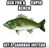 invadent sea bass - Ask for a       cupid bench Get a  sandbag instead
