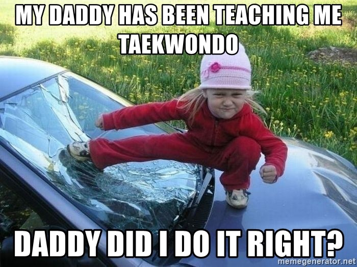Angry Karate Girl - My daddy has been teaching me taekwondo  Daddy did I do it right?