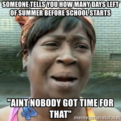 """No time for that - Someone tells you how many days left of summer before school starts """"AINT NOBODY GOT TIME FOR THAT"""""""