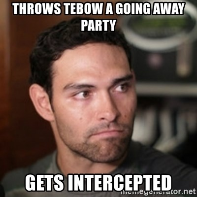 Throws Tebow A Going Away Party Gets Intercepted Mark Sanchez