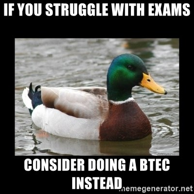 advice mallard - If you struggle with exams Consider doing a BTEC instead