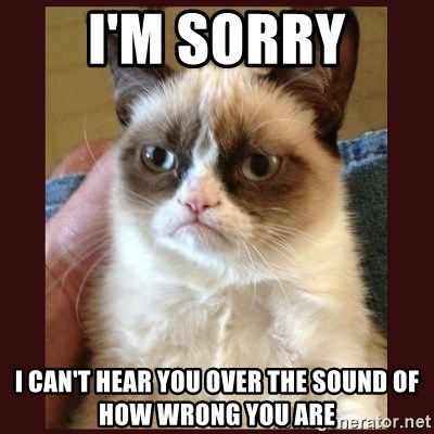 Tard the Grumpy Cat - I'M SORRY I CAN'T HEAR YOU OVER THE SOUND OF HOW WRONG YOU ARE