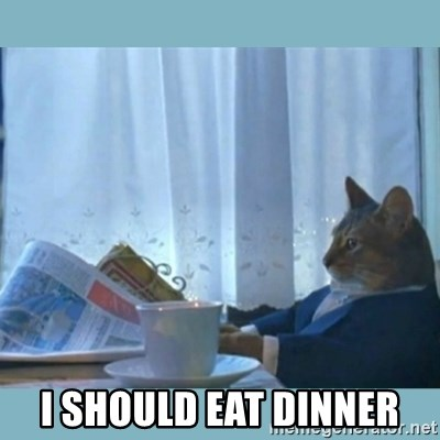 rich cat  -  I should eat dinner