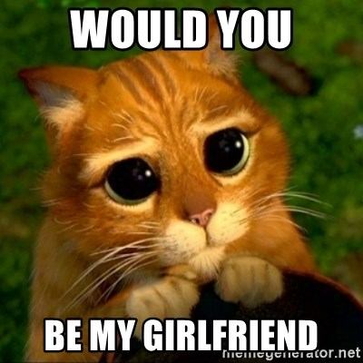 Would You Be My Girlfriend Puss In Boots Or Shrek Cat Meme Generator