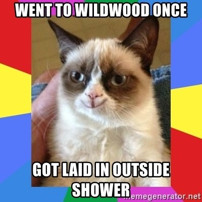 Grumpy Cat Smiling - Went To Wildwood Once Got Laid In Outside Shower