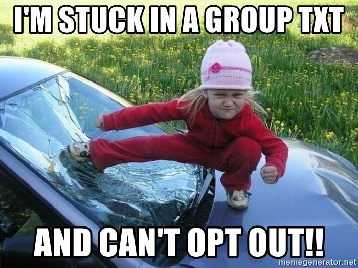 Angry Karate Girl - I'M STUCK IN A GROUP TXT AND CAN'T OPT OUT!!