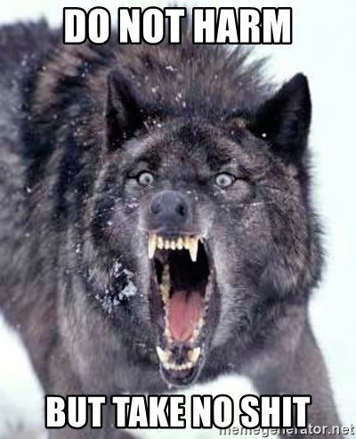 Angry Ass Wolf - do not harm but take no shit