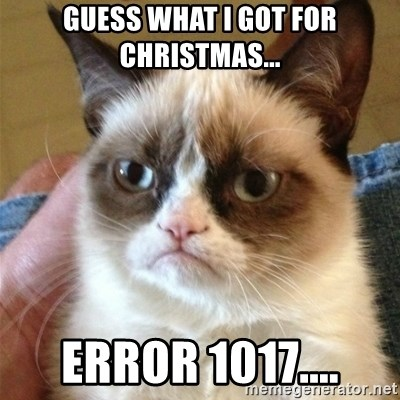 Grumpy Cat  - Guess what I got for CHristmas... Error 1017....