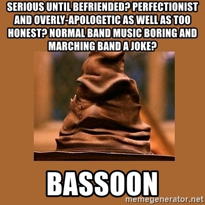 Music Sorting Hat - SERIOUS UNTIL BEFRIENDED? PERFECTIONIST AND OVERLY-APOLOGETIC AS WELL AS TOO HONEST? NORMAL BAND MUSIC BORING AND MARCHING BAND A JOKE? BASSOON