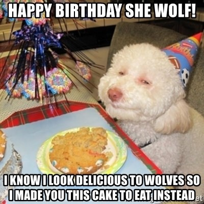 e54edc740a9 Birthday dog - Happy Birthday She Wolf! I know I look delicious to wolves so