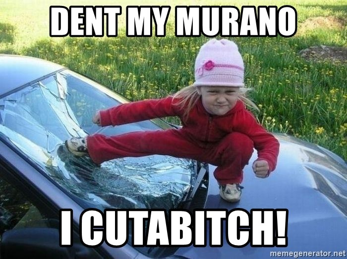Angry Karate Girl - Dent my Murano I cutabitch!