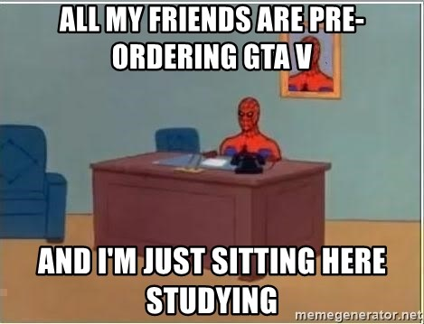 Spiderman Desk - ALL MY FRIENDS ARE PRE-ORDERING GTA V AND I'M JUST SITTING HERE STUDYING