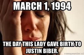 Crying lady - March 1, 1994 The day this lady gave birth to justin biber.