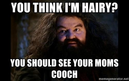 Yer A Wizard Harry Hagrid - you think i'm hairy? you should see your moms cooch